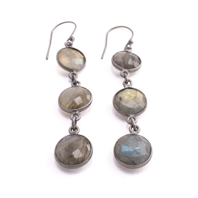 Aurora Earrings - Labradorite Bezel - Patina