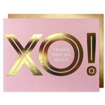 Gold Foil XO! Thank You Greeting Card