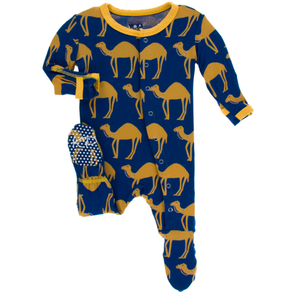 Print Footie with Zipper - Navy Camel