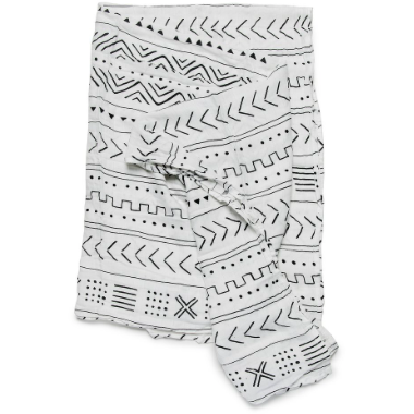 Luxe Muslin Swaddle - White Mudcloth