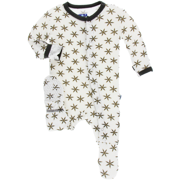 Print Footie with Zipper - Natural Star Anise