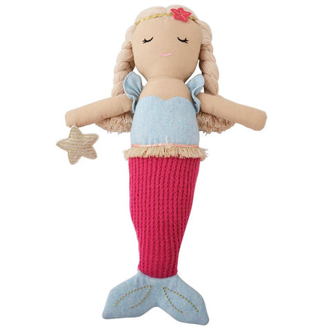 Blue Plush Linen Mermaid Doll