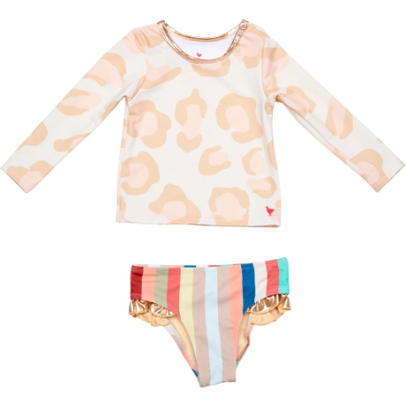 Baby Rash Guard Set - White Leopard
