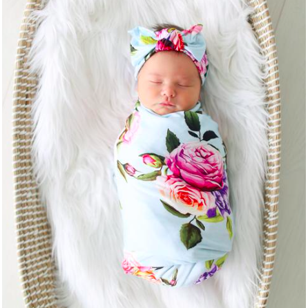 Swaddle & Infant Headwrap Set - Country Rose