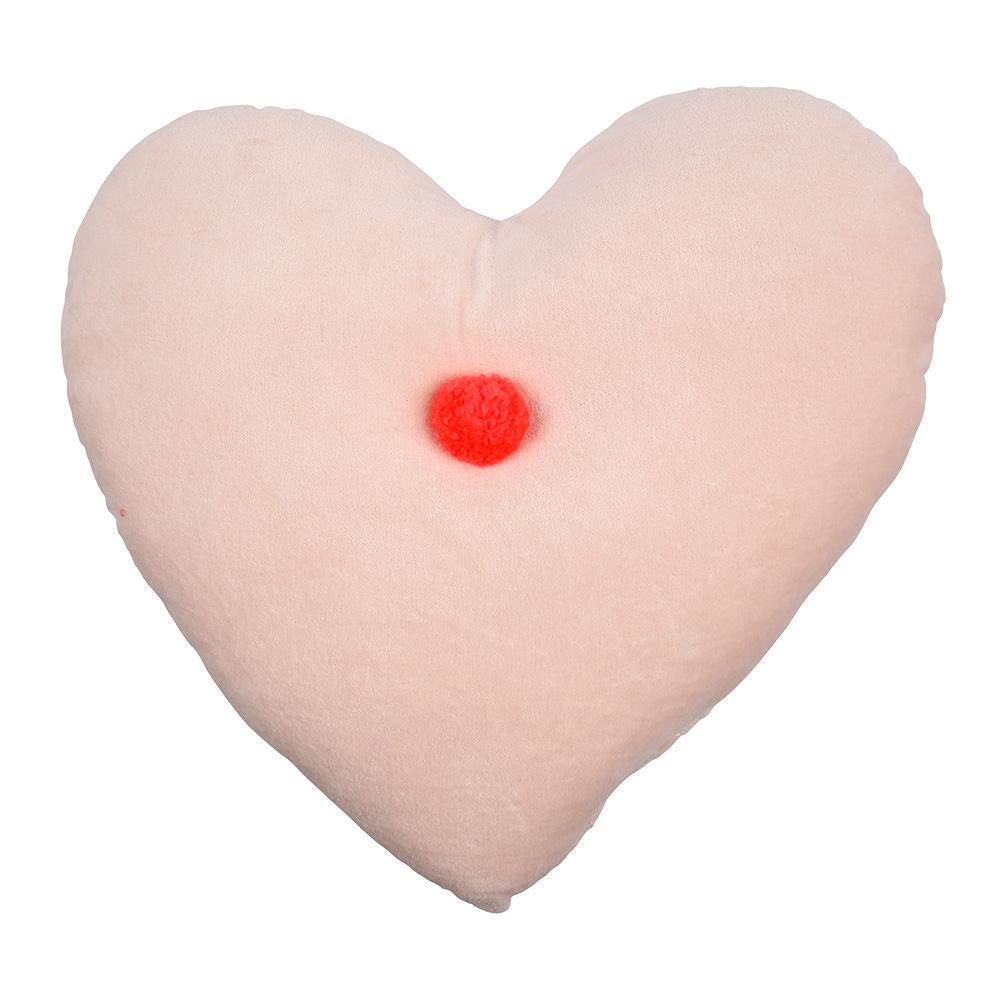 Peach Heart Velvet Cushion