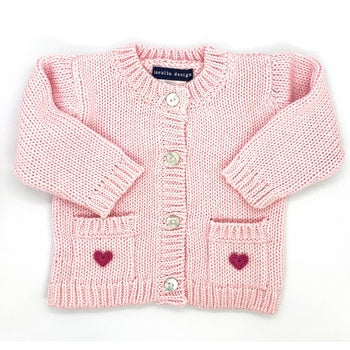 Pink Crocheted Heart Cardigan