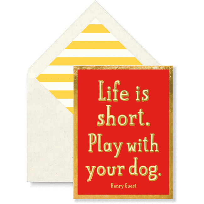 Life Is Short. Play With Your Dog Greeting Card