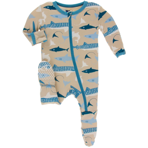 Print Footie with Zipper - Burlap Sharks