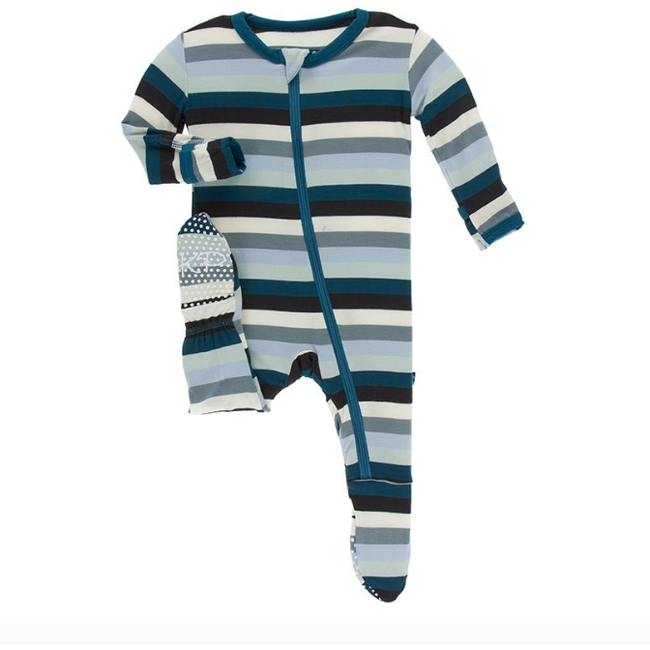 Print Footie with Zipper - Meteorology Stripe