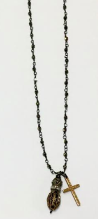 Birdcage Bead Bronze Rosary Necklace