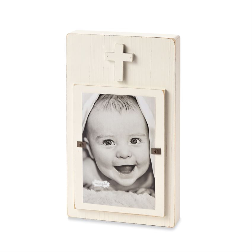 Wood Cross Block Picture Frame - White