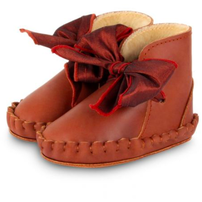 Pina Organza Lining Boots - Cognac Classic Leather & Mahogany Roughened Silk