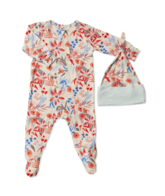 Zipper Footie & Hat Set - Posy