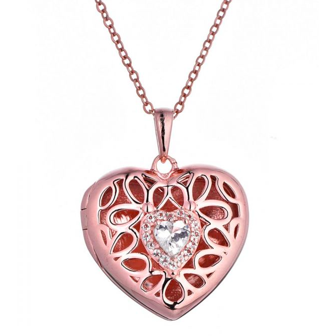 Katharine Locket Necklace - Rose Gold