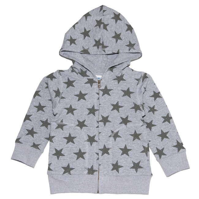 Star Zip Up Hoodie - Grey