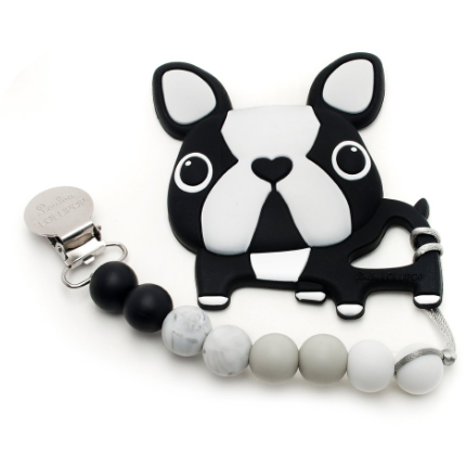 Boston Terrier Teether Set - Black
