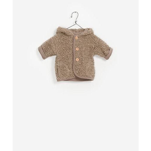 Fuzzy Button Up Jacket - Beige
