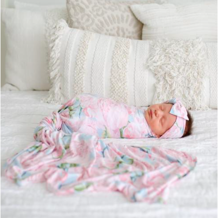 Swaddle & Infant Headwrap Set - Pink Peony
