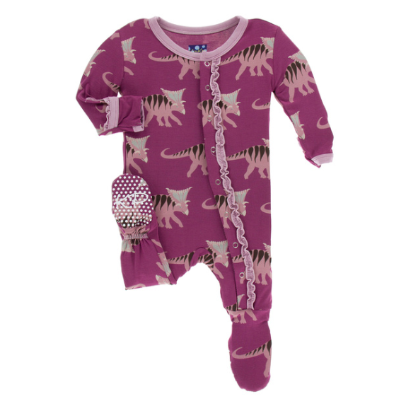 Muffin Ruffle Footie with Zipper - Amethyst Kosmoceratops