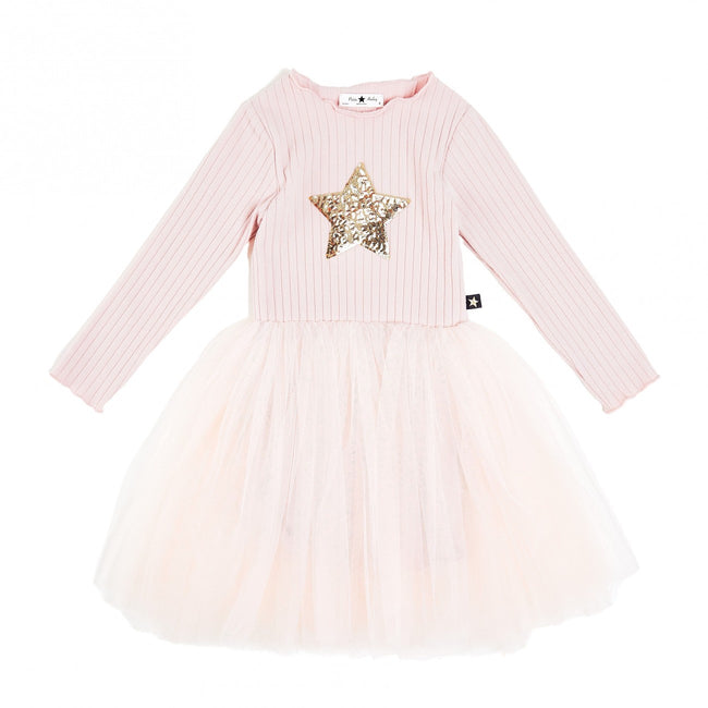 Ribbed Star Tutu Dress - Pink