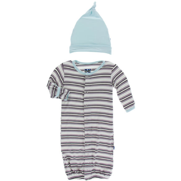 Gown & Single Knot Hat Set - India Pure Stripe
