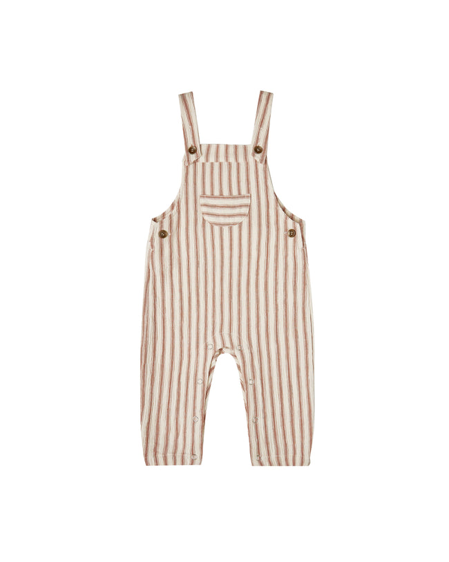 Striped Baby Overalls - Natural/Amber