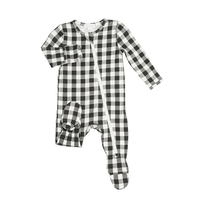 Black Gingham Zipper Footie