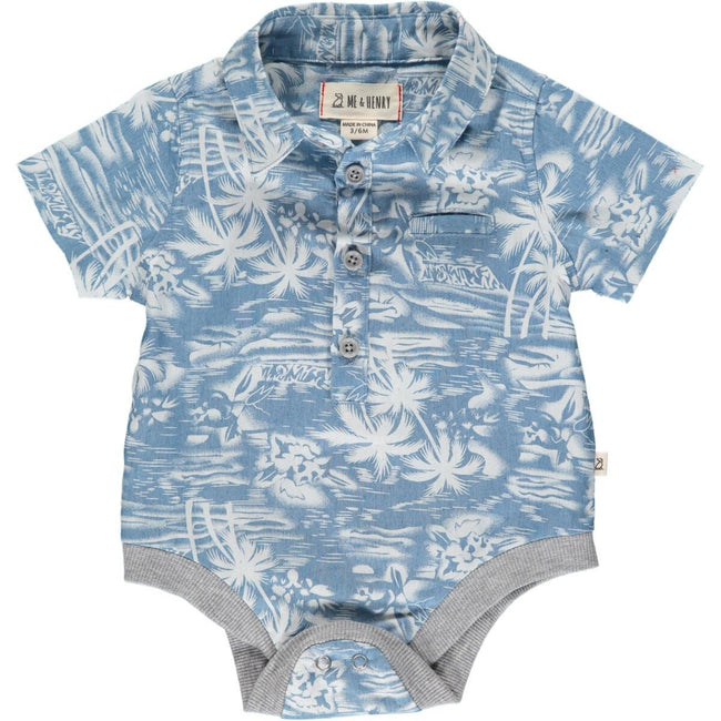 Helford Collared Onesie - Chambray Surfer