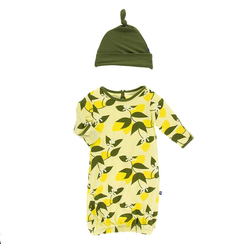 Gown & Single Knot Hat Set - Lime Blossom Lemon Tree