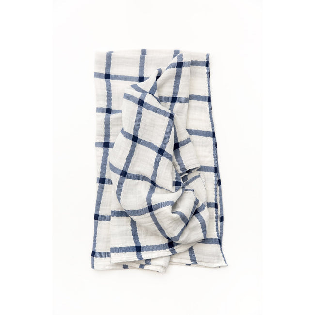 Navy Plaid Swaddle Blanket