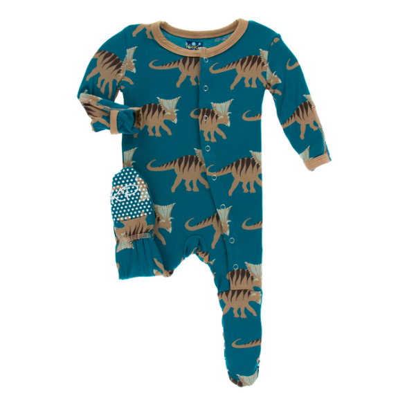 Print Footie with Zipper - Blue Kosmoceratops