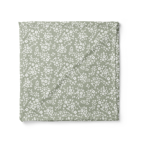 Whimsy Floral Swaddle Blanket - Sage Green