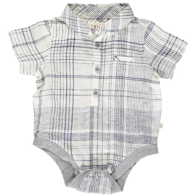 Helford Collared Onesie - Navy Plaid