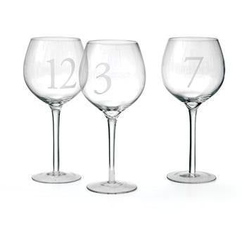 Numerology Wine Glass Set of 12