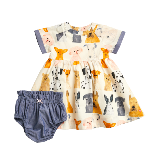 Olive Dress Set - Watercolor Dogs