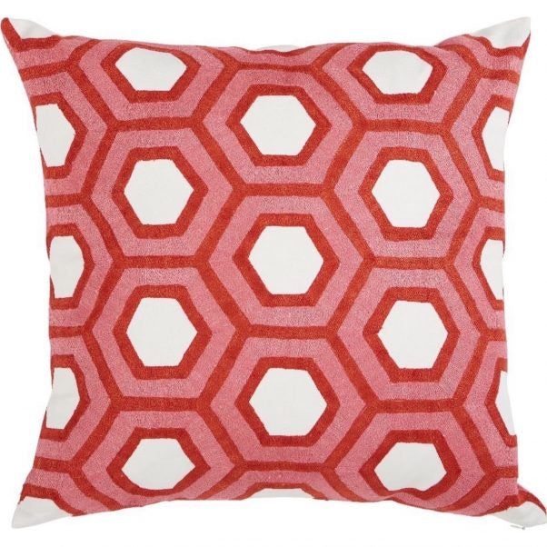"Tess Coral Embroidered Pillow with Insert - 22"" x 22"""