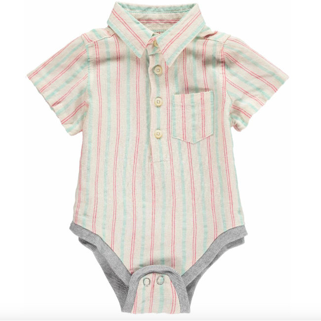 Striped Woven Onesie - Red & Green