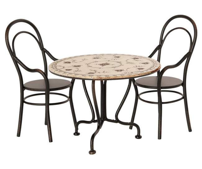 Dining Table Set with 2 Chairs - Black