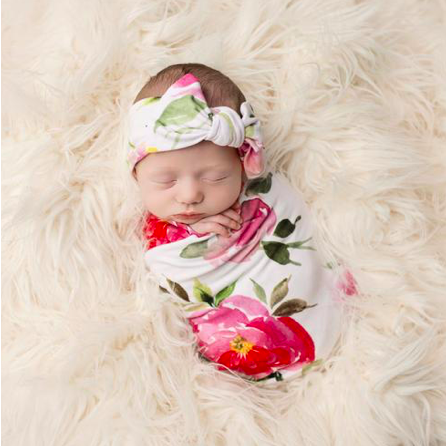 Swaddle & Infant Headwrap Set - Watercolor Bloom