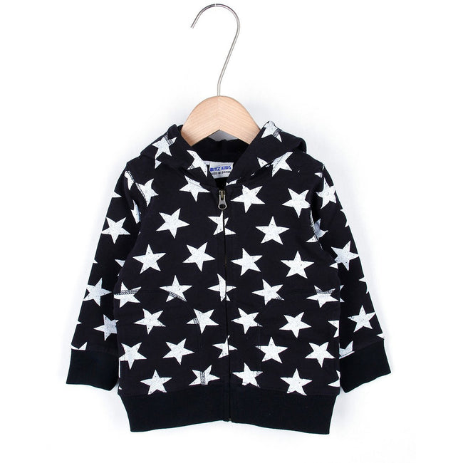 Star Zip Up Hoodie - Black