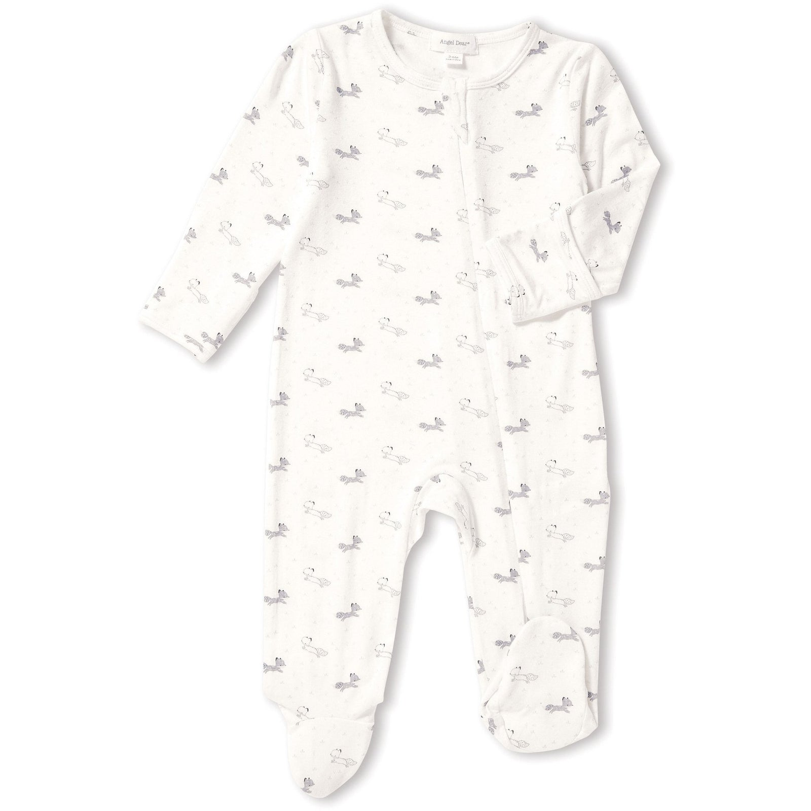Baby Fox Zipper Footie - Grey