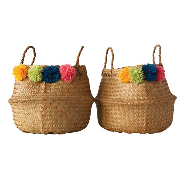 "13"" x 14"" Palm Leaf Pom Pom Basket"