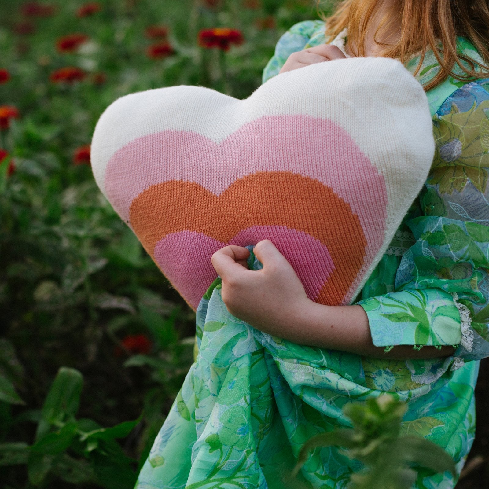 Heart Pillow - Pink/Orange