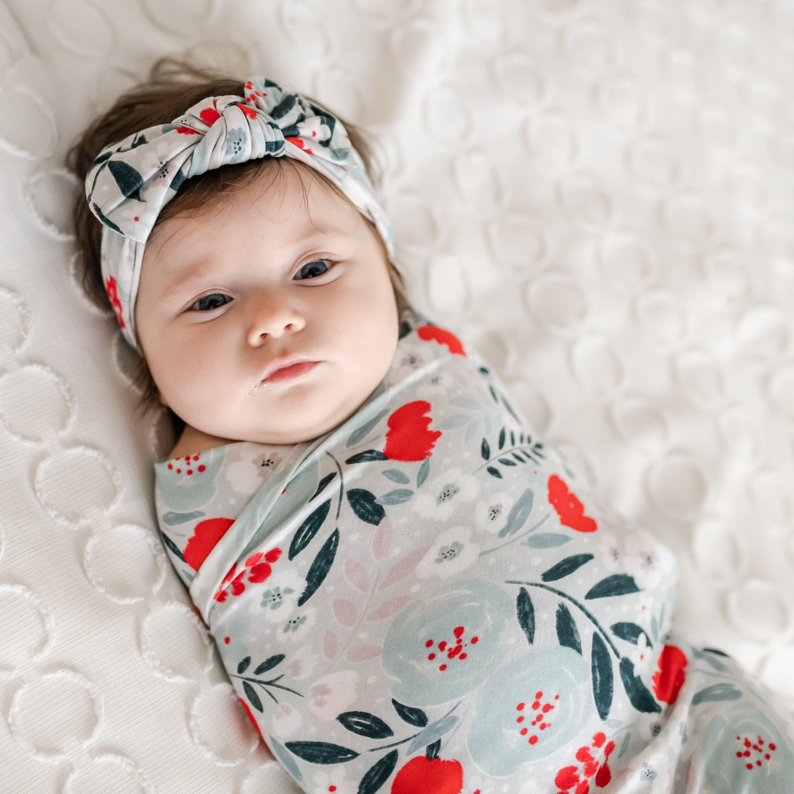 Winter Floral Bamboo Viscose Swaddle + Headband Set