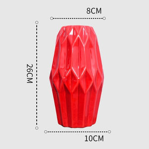 1Pcs Red drum ceramic vase set - decoratebyyou