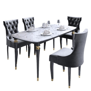 Light luxury post-modern American marble solid wood dining table and chair combination - decoratebyyou