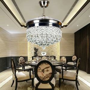 42 inch Silver Heart-Shaped Crystal LED Invisible Fan Light with Remote Control - decoratebyyou