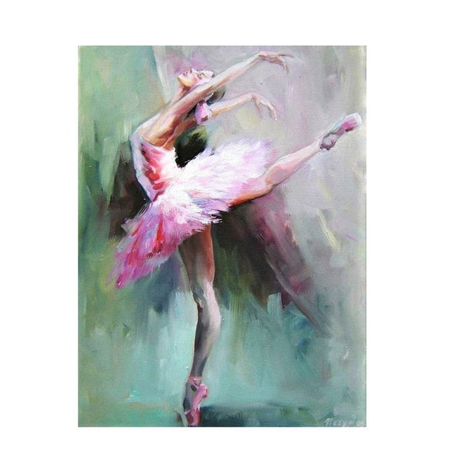 Abstract Ballerina Portrait Oil Painting on Canvas - decoratebyyou
