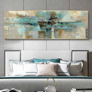 Modern Turquoise Abstract Canvas Painting - decoratebyyou