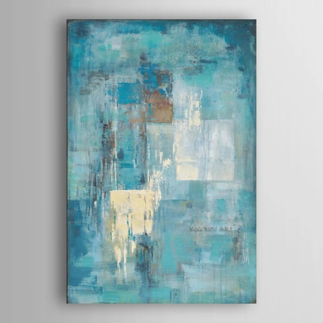 Canvas Art Oil Painting Turquoise Blue - decoratebyyou